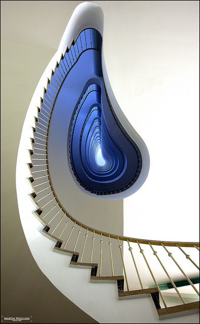 Stairway into blue