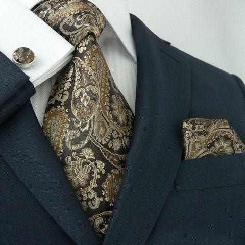 Brown Paisley Necktie Set JPM539 – Toramon Necktie Company