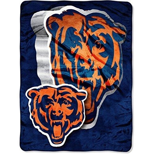 NFL Bears Throw Blanket 60 X 80 Football Themed Bedding Sports Patterned Team Logo Fan Merchandise Athletic Team Spirit Fan Burnt Orange Navy Blue Raschel