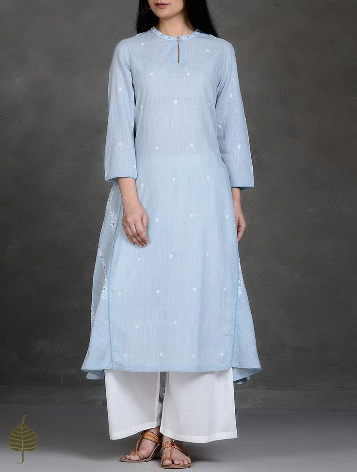 Buy Blue-White Chikankari Cotton Kurta by Jaypore Online at Jaypore.com
