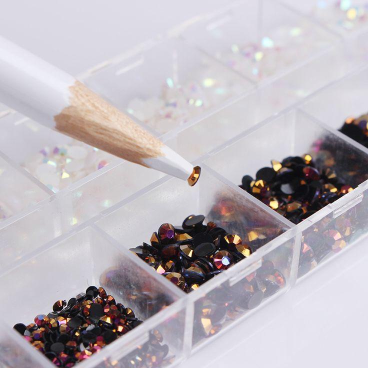 1 Box Schwarz Weiß Gemischte Gelee Nagel Strass 3D Nagel kunst Dekorationen Mit Punktierung Pen Maniküre DIY Nail art Dekoration Set