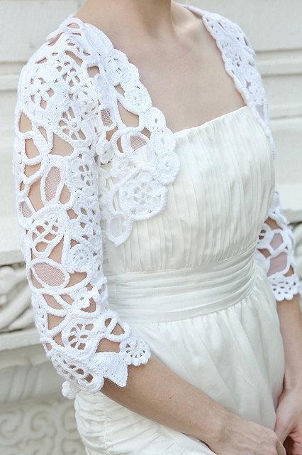 White Freeform Crochet and Lace Wedding Bolero, Freeform Shrug