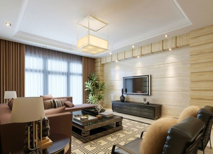 Charming Living Room With Functional Television Wooden Background