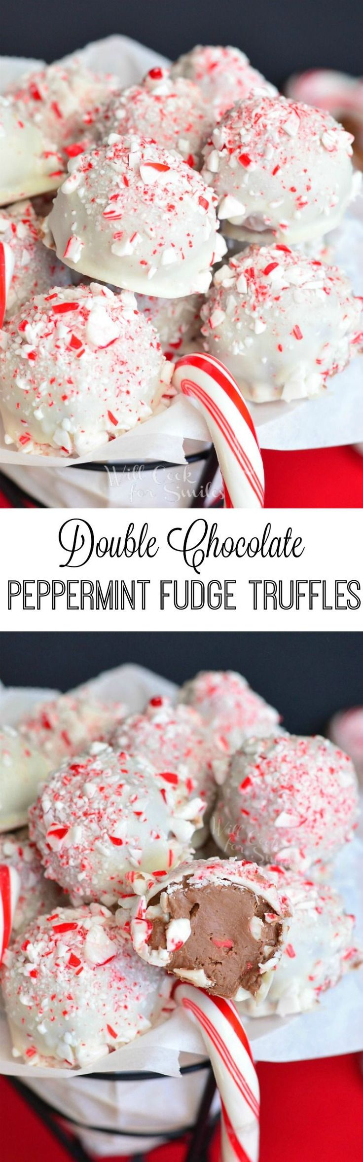 Double Chocolate Peppermint Fudge Truffles. Soft fudge, crunchy peppermint, and smooth, sweet chocolate are all loaded into one delicious little truffle.