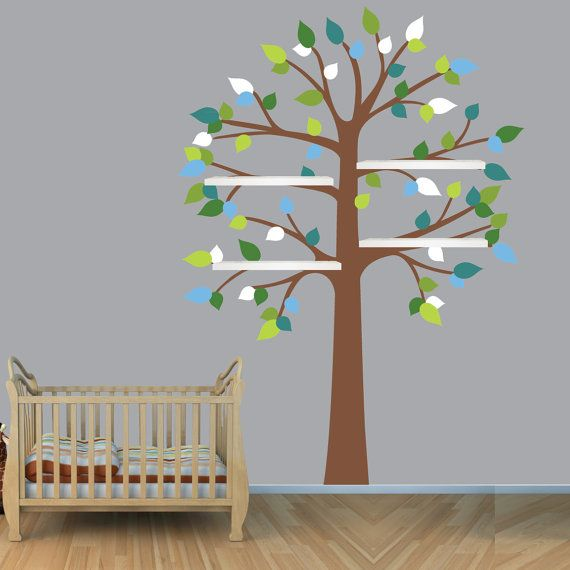 Large Shelf Tree Decal,Wall Decals,Wall Decor,Wall Clings,Nursery Wall Decals,Wall Decals Tree Blue Green Gray,Narrow c8c9c14c30c69c80
