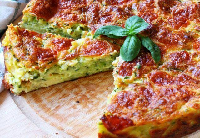 Salzkuchen mit Zucchini und Parmesan WW, Rezept für einen guten leichten Kuchen …   – Recette
