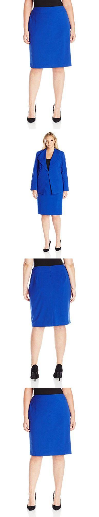 Nine West Women's Plus Size Straight Skirt, Royal, 24W