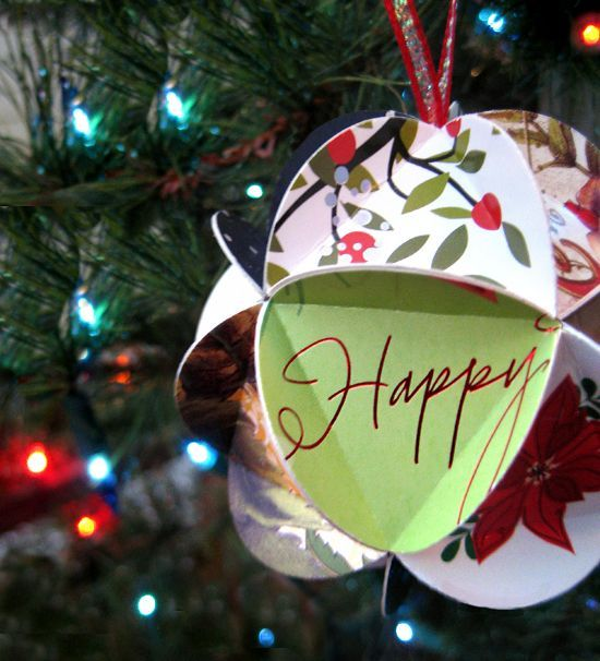 recycled holiday christmas card ornament