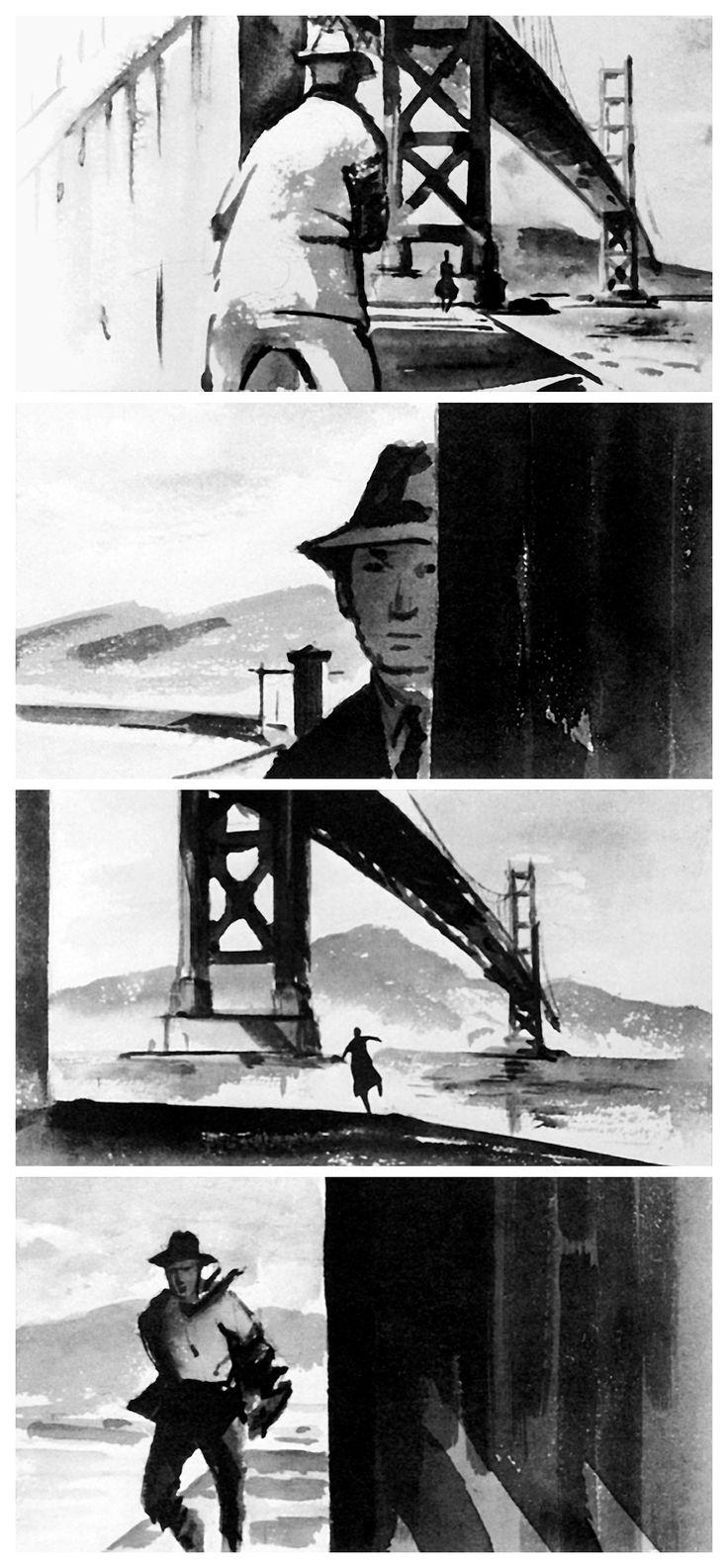 Storyboard sequence by art director Henry Bumstead for Vertigo.
