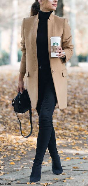 #fall #outfits women's brown over coat