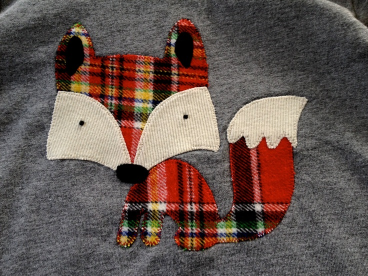 Red Plaid Friendly Fox Long Sleeved Applique Shirt by OhJustDandy