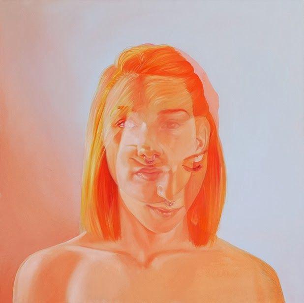 jen mann double exposure portrait painting orange