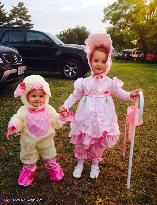 Lindsey: Hadlie as Little Bo Peep and her little sister Kenlie as her sheep.