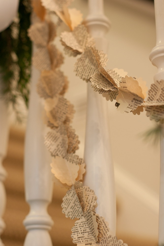 Cute paper garland. Just needs a round scalloped paper punch. Stack three rounds and sew, do not cut from machine, stack another three and sew, keep doing this until you get the length you want. Fan them out and viola and cute paper garland! J.H.