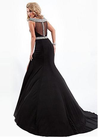 Buy discount Stunning Chiffon & Tulle Keyhole Neckline Floor-length Sheath Prom Dress at Dressilyme.com