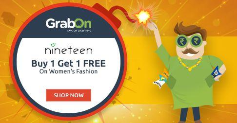 Special Pataka Offer @ Nineteen - Buy 1 Get 1 Free. http://www.grabon.in/diwali-offers/. Shop Using #BachatWaliDiwali Offers!!