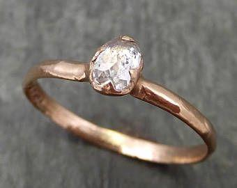 Lujo corte diamante solitario compromiso 14k Rose oro anillo de bodas anillo de diamantes ásperos byAngeline 0679