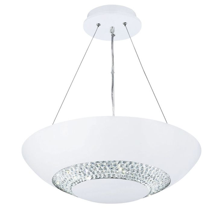 Searchlight 3448 8WH Halo White 8 LED Pendant Clear Crystal Glass Band From Dushka Ltd