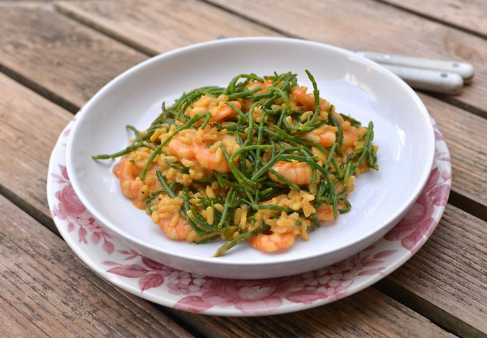 Lemon & Vanilla: Prawn and samphire risotto / Risotto de camarões e...
