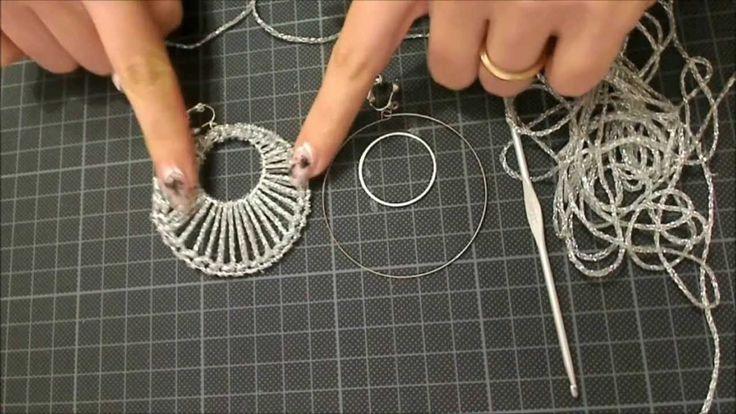 DIY tutorial orecchino a cerchio doppio uncinetto argento gioielli fai d...