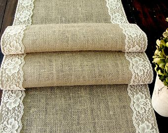 Burlap table runner with vintage cream lace wedding table runner rustic romantic wedding, handmade in the USA