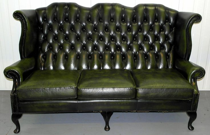 Vintage chesterfield leather three seater queen anne sofa