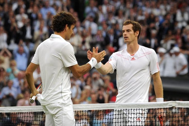 Men's final: Federer Vs. Murray  Roger Federer and Andy Murray shake hands on Centre Court after the Men's final. - Tom Lovelock/AELTC