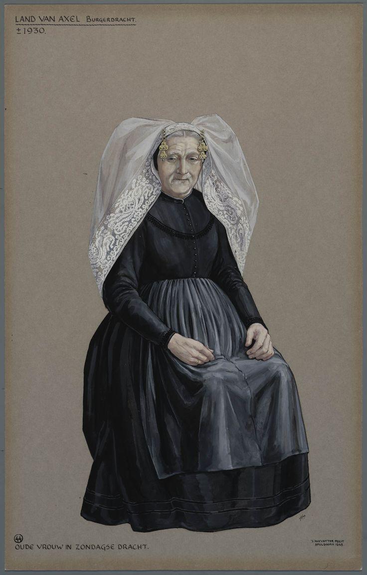 Land van Axel, burgerdracht, ca. 1930. Oude vrouw in zondagse dracht. #Axel