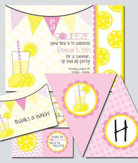 Lemonade Party Printable Invitation and Package. $30.00, via Etsy.