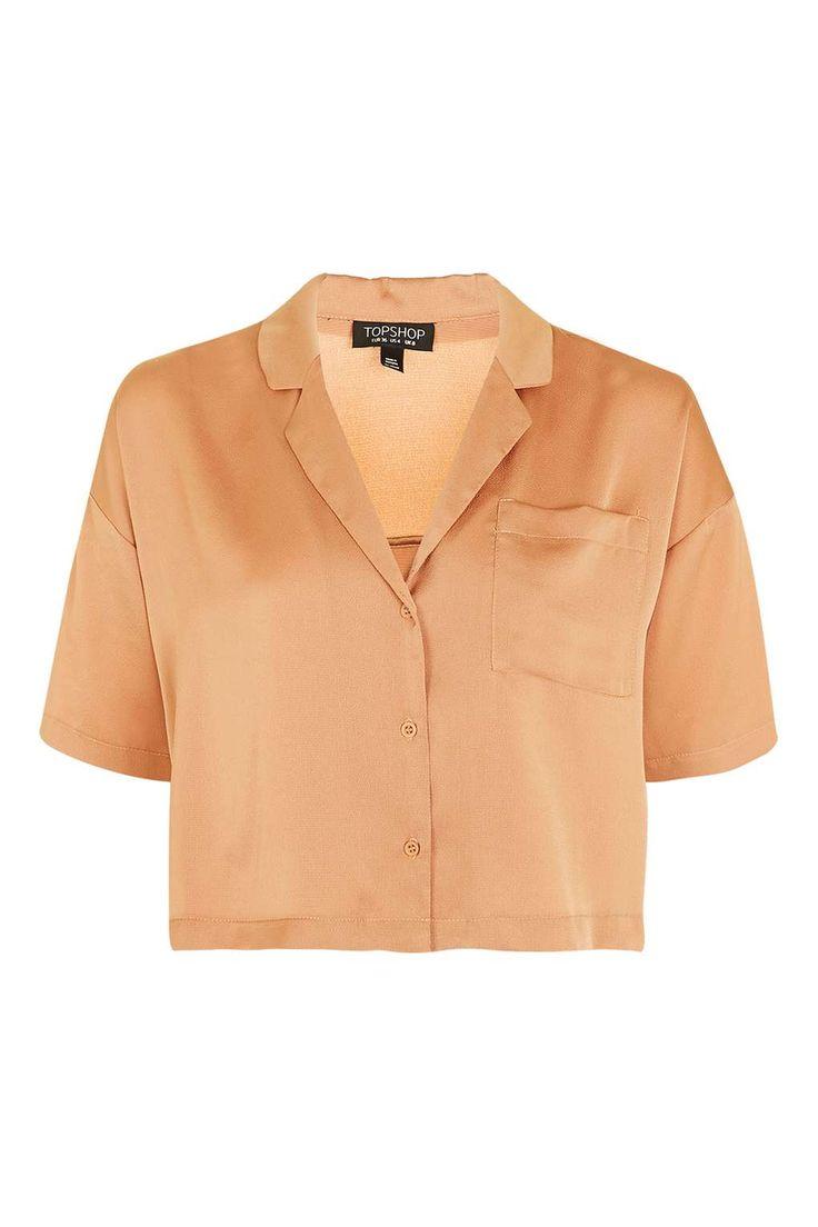 Bubble Satin Cropped Pyjama Shirt