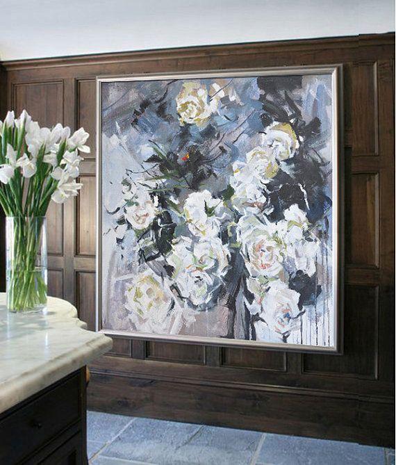 Resumen flores pintura al óleo sobre lienzo Arte por CelineZiangArt