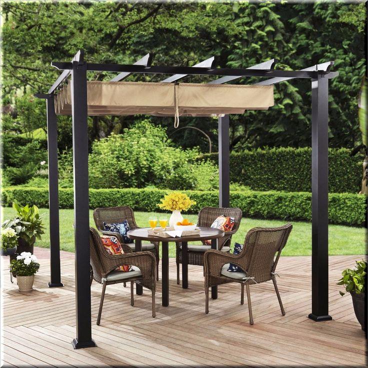 Outdoor Pergola Canopy Gazebo Square Cover Shelter Garden Backyard Shade  Brown