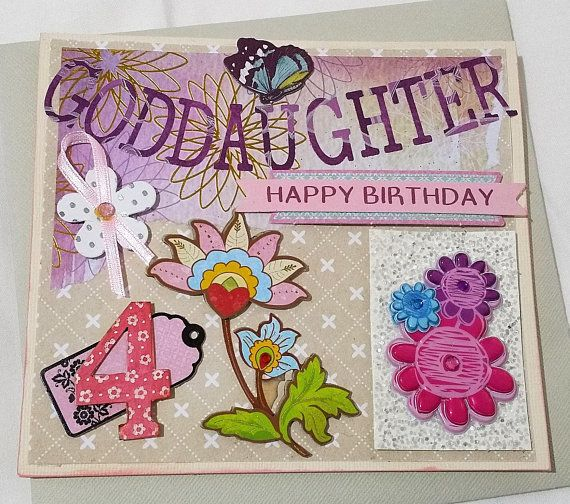 Cards  Birthday Card Goddaughter 4  Handmade Cards  Any