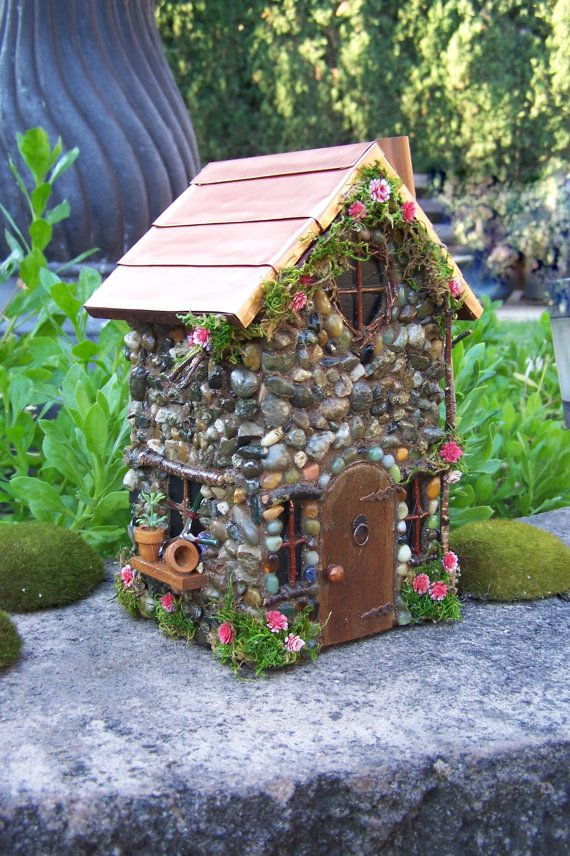 fairy garden house with copper roof fairy cottage the garden fairy house fairy miniature. Black Bedroom Furniture Sets. Home Design Ideas