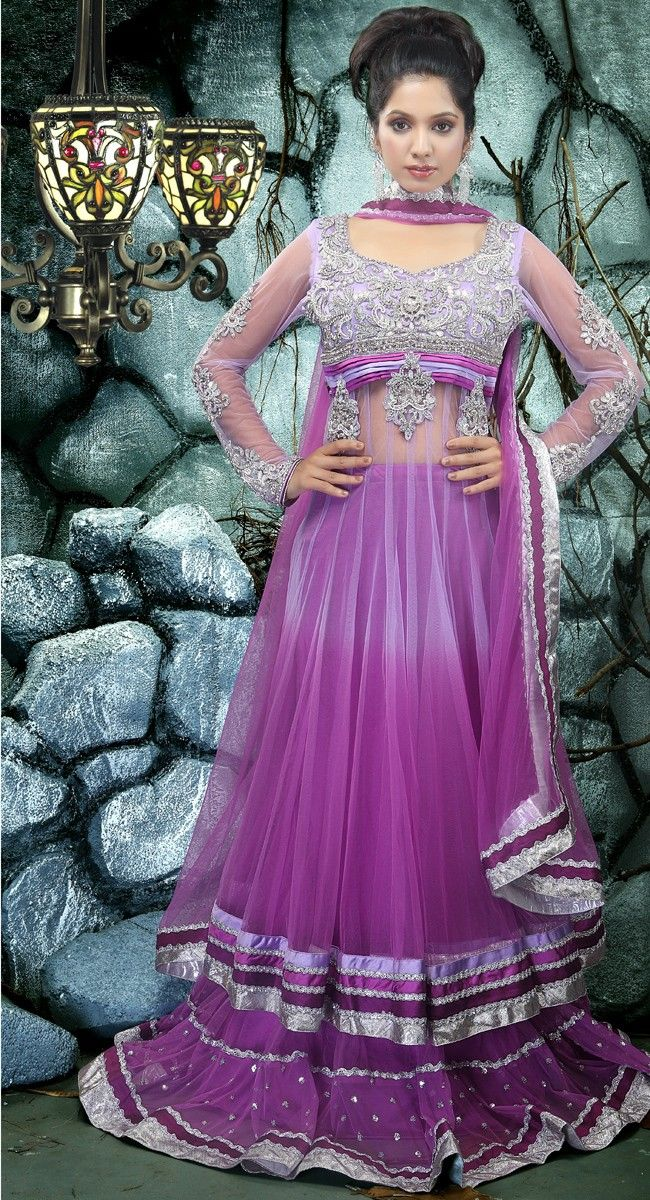 Aesthetic Bluish Purple Lehenga Choli | Price: $451.00