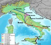 """""""Die Via Emilia (lateinisch Via Aemilia, deutsch Aemilianische oder Ämilianische Straße) ist eine nach den Aemiliern benannte Römerstraße im Norden Italiens, entlang dem Ufer des Po und dem Fuß der Apenninen. Sie verbindet die Städte Piacenza (Placentia) und Rimini (Ariminum ) über Fidenza (Fidentia), Parma, Reggio Emilia (Regium), Modena (Mutina), Bologna (Bononia) und Imola und ist die Fortsetzung der Via Flaminia, die von Rom nach Rimini führte."""""""