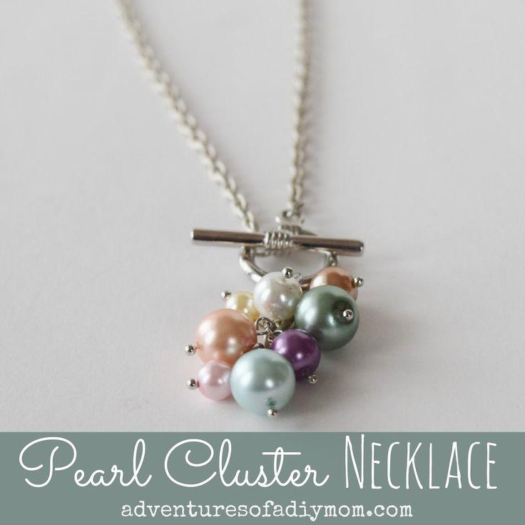 Adventures of a DIY Mom - DIY Pearl Cluster Necklace Tutorial