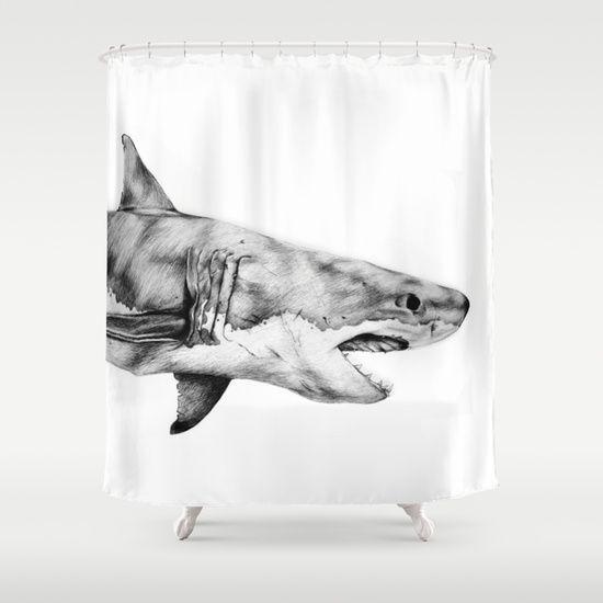 Great+White+Shark+Shower+Curtain+by+Yanin+Ruibal+-+$68.00