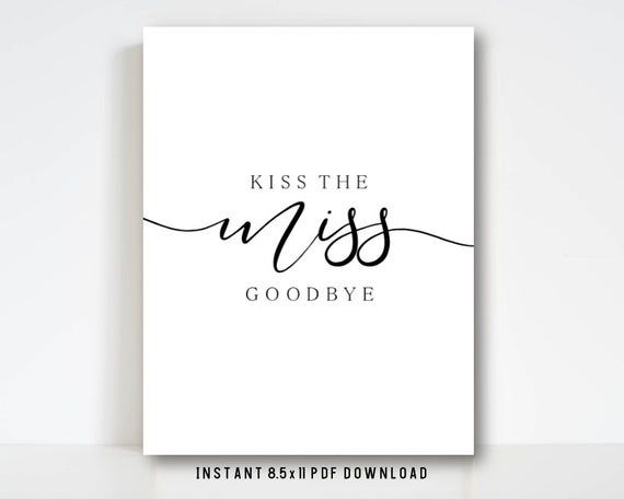 Kiss The Miss Goodbye Printable Instant Download For Etsy Bridal Shower Cards Bachelorette Party Bridal Shower