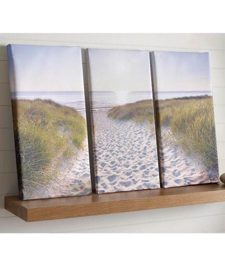 40-891 Portfolio Beach Walk Blue,Green,Cream Landscape Canvas | Graham & Brown
