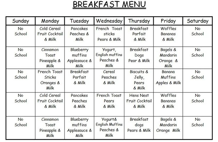 Child Care Standar Recipes For Lunch Menu