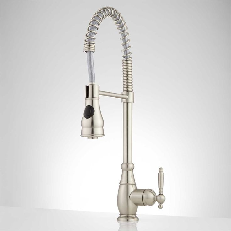 Garter Single Hole Pull Down Kitchen Faucet with Spring Spout - Brushed Nickel
