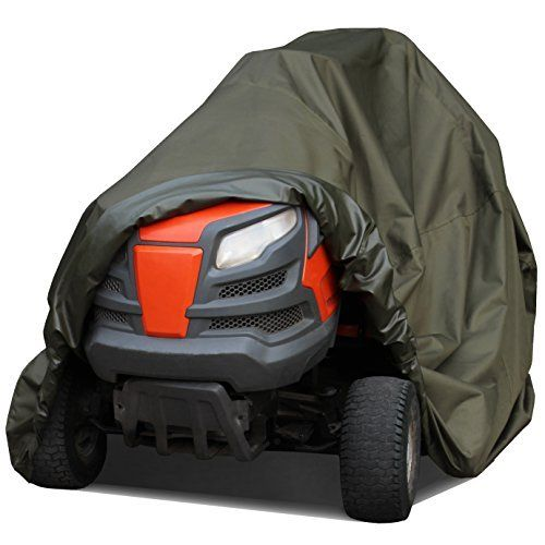 """Product review for Waterproof Lawn Mower Cover by Family Accessories - Best Quality, Heavy Duty, Durable, UV and Water Resistant Cover for Your Riding Garden Tractor - Up to 54"""" Decks. Deluxe Riding Lawn Mower Cover. Protects your riding mower or tractor against wind, rain, snow, sun, dust and dirt damage. Fits decks up to 54"""" (78""""L x 46""""H x 44""""W). Heavy duty durable material. Mower not included, cover only."""
