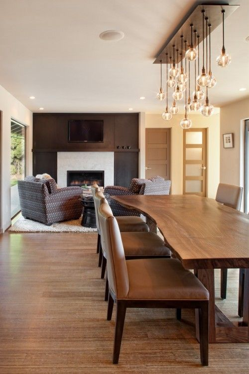 really want a raw wood slab dining table after seeing one on property brothers contemporary - Dining Room Light Fixture Modern