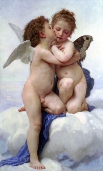 윌리앙 아돌프 부그로(Adolphe William Bouguereau)의 첫키스(The First Kiss) 또는 어린 큐피드와 프시케(L'Amour et Psyche, enfants) / 1889년  프랑스 화가 윌리엄 부게로가 그린 작품으로, 그리스 신화에 나오는 에로스와 프시케가 천진무구한 몸짓으로 나누는 첫 키스를 묘사하고 있다. 날개가 달린 남자 어린이는 에로스(큐피트)를 상징하고, 나비 날개가 달린 여자 어린이는 프시케(나비)를 상징한다. 밝은 색채와 부드러운 표현은 티없이 맑은 그들의 사랑과 영혼의 결합을 잘 보여주며, 감상하는 이로 하여금 사랑스럽고 순수한 마음을 갖게 한다.