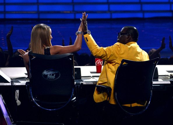American Idol judges .Mariah Carey (L) and Randy Jackson are seen onstage during Fox's 'American Idol'Finale Results Show at Nokia Theatre L.A. Live on May 16, 2013 in Los Angeles, California.