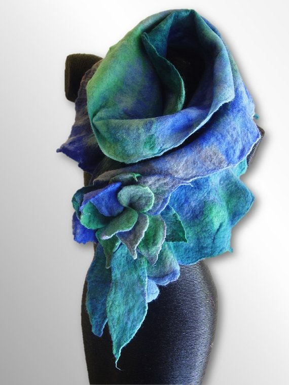 The Ice Blue Clematis hand felted flower scarf is based on a perennial flower called ice blue clematis. The scarf is measured around 170 cm (67