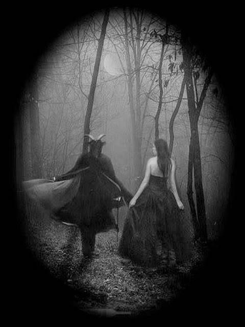 """""""Walking in the woods with Satan"""" I would love a picture like this."""