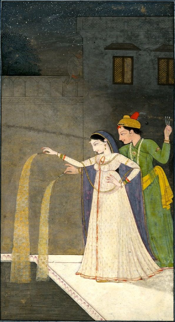 Lovers playing with fireworks. Painted on paper. Punjab Hills, ca 1800, Mughal. (via British Museum)