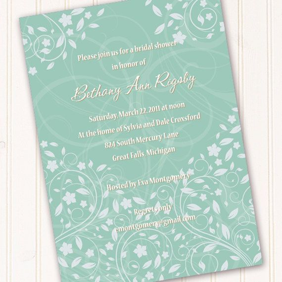 Bridal Shower Invitations Aqua Sea Foam Green Wedding Announcements